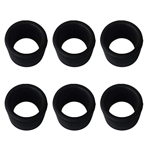 (FHelectronic Black Rubber Fishing Rod Holder Tackle Cap Kit fit for Rod Holder Pole Rest Rack Insert Protectors (6Pieces))