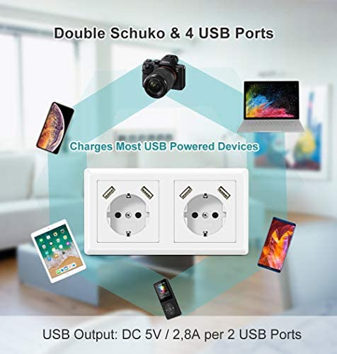 Enchufe Doble con USB Toma de pared Enchufe Superficie USB Schuko ...