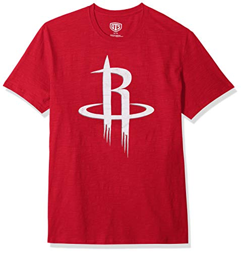 NBA Houston Rockets Male OTS Slub Distressed Tee, Red, Large - Houston Rockets Throwback