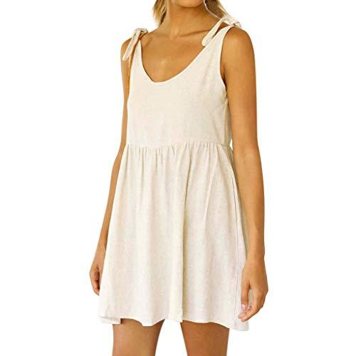 Opinionated Women Summer V Neck Sleeveless Mini Dresses Strap Boho Plain Cotton and Short Dress Backless Beach Holiday Party Sundress