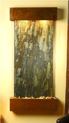 Adagio Cascade Springs Wall Fountain Green Solid Slate Rustic Copper - CSS1002 ()