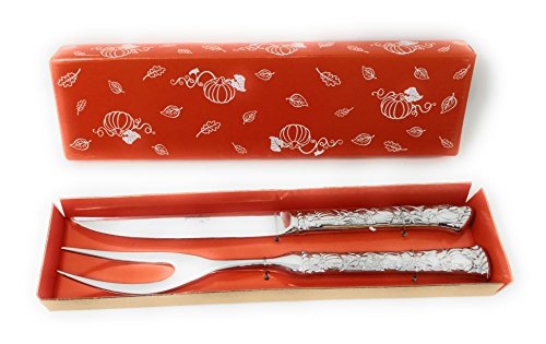 Temp-tations Carving Set 18/10 Stainless Steel 11.5″ 2 Piece (Pumpkin Patch)