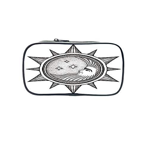 Customizable Pen Bag,Occult Decor,Moon Inside The Sun with Stars Alchemy Clandestine Esoteric Solar Crescent Art,Black Grey,for Kids,3D Print Design by iPrint