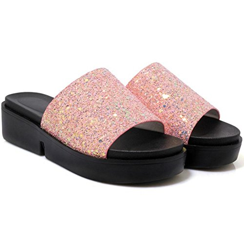 Bout pink Femmes Ouvert TAOFFEN Mules xw6YqBHHR