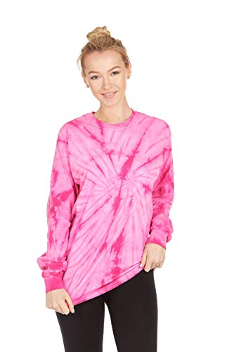 (DARESAY Tie Dye Style Long Sleeve T-Shirt, Spider Pink, X-Large)