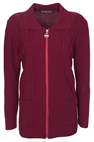 77b5d5d2f24 Lets Shop Shop Womens Zipped Cable Knit Long Sleeve Zip Through Fasten  Jumper Top Ladies Classic Knitwear Zipper Cardigan Pullover Plus Size 10 12  14 ...