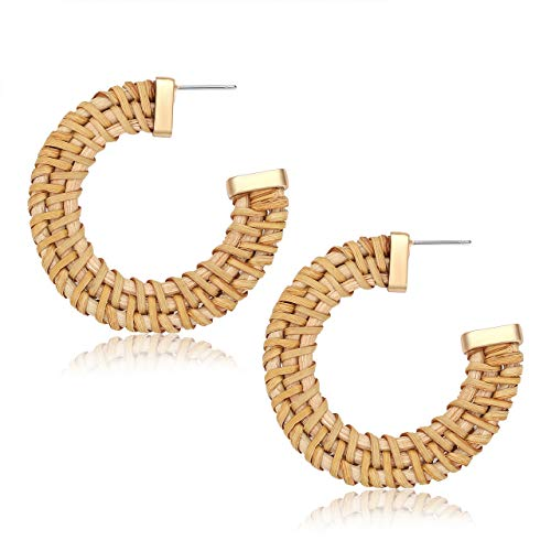 - YAHPERN Hoop Earrings for Women Bohemian Weave Straw Round Circle Earrings Handmade Lightweight Rattan Wicker Stud Hoop Earrings (Dark Color)