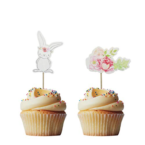 Morndew 24 PCS Rabbit and Flowers Cupcake Toppers Cake Insert Picks Decorations for Birthday party, Baby Shower, Wedding Party -