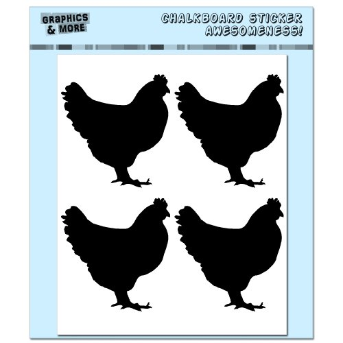 (Roosters Chickens - 4 Sheets of Chalkboard Vinyl Stickers - Container Bin Labels Drink Markers)