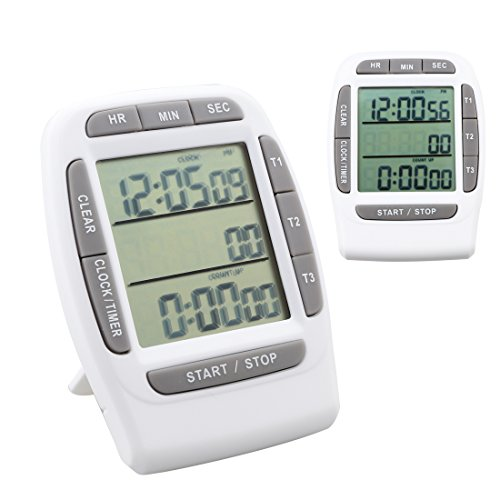 A-szcxtop Digital Clock Alarm Timer with Triple Display 3...