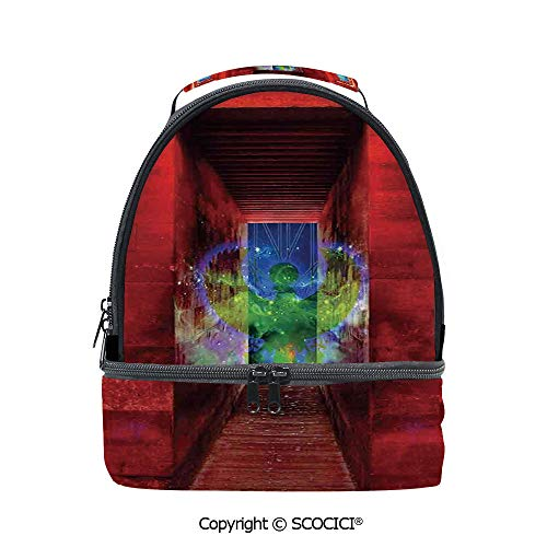 - SCOCICI Large Capacity Durable Material Lunch Box Phoenix Greek Myth Creature Reborn Bird in Building with Stairs Image Multipurpose Adjustable Lunch Bag