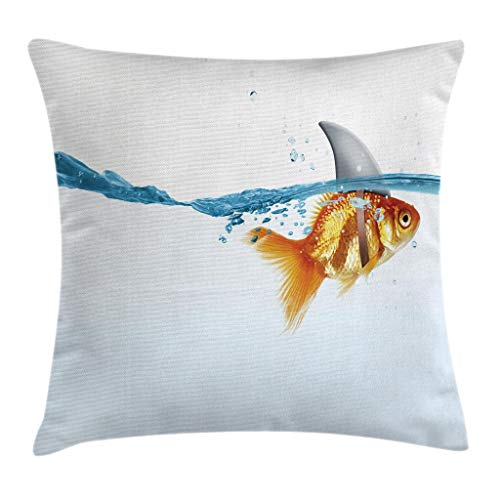 Ambesonne Sea Animal Decor Throw Pillow Cushion Cover by, Goldfish in Water with Shark Fin Scary Predators Tricky Humor Fun Image, Decorative Square Accent Pillow Case, 16 X 16 Inches, Orange Blue by Ambesonne