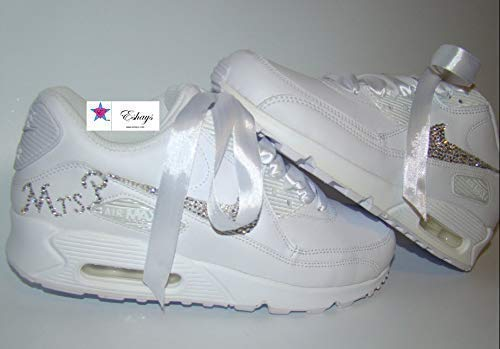 hot sale online ccd70 51363 Amazon.com  Custom Crystal Shoes  Bling Rhinestone Wedding Sneakers    Personalized White Nike Air Max 90  Handmade