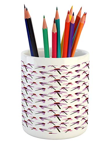 Lunarable Echinacea Pencil Pen Holder, Illustration of Continuous Cone Flower Pattern, Printed Ceramic Pencil Pen Holder for Desk Office Accessory, Evergreen Pale Fuchsia Vermilion and White