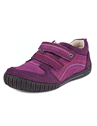 D.D. Step Girls' Sneakers, Genuine Leather, Purple with Double Velcro Strap (036-24C)