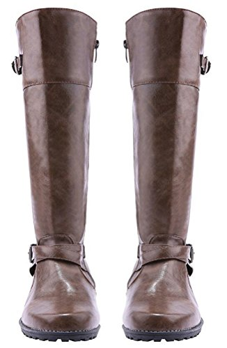 Riding Boots Women Knee Length, Wide Calf Chunky Heel Shoes Plus Size 4 Colors Size 5.5-9.5 Brown