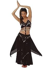 Silver Coin Women Halter Top Skirt Belly Dance Costume Hot Belly Dancer Bohemian