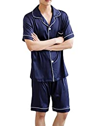 UUYUK-Men Summer Sleepwear Silk Stain Short Sleeve Pajama Shorts and Top Set