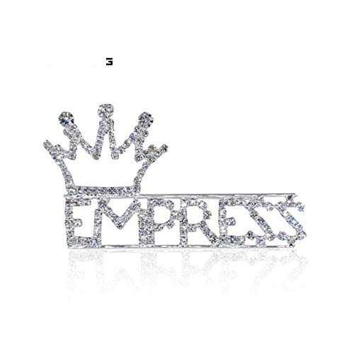- Rhinestone Word & Letters Pins Empress with A Crown Tiara on Top