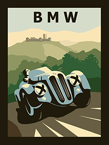 "Blue BMW Antique Car Germany German Automobile Vintage Poster Repro 20"" X 30"" Image Size. We Have Other Sizes Available!"