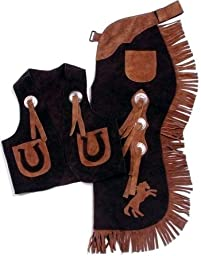 Kids Chap and Vest Set Brown Small