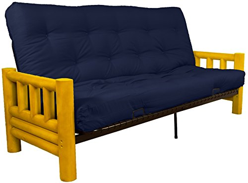 Epic Furnishings Rocky Mountain 10-inch Loft Inner Spring Futon Sofa Sleeper Bed, Queen-size, Twill Navy Blue Upholstery