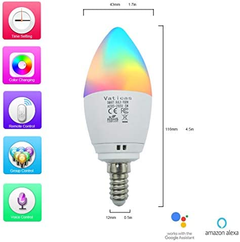 LED Candelabra Bulbs E12 Base, Dimmable Smart Light Bulbs, RGB Warm White Cool White, 5W 40W Equivalent , Timing, Ceiling Fan Kitchen Light Compatible with Alexa Google Assistant IFTTT, 2 Pack