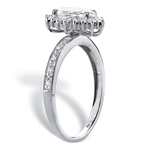 Platinum over Silver Marquise Cut Created White Sapphire and Diamond Accent Engagement Ring Size 8