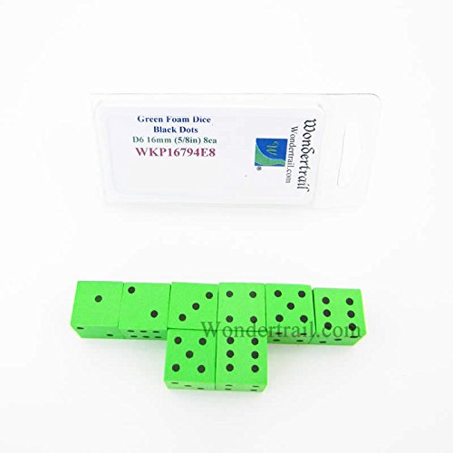 Green Foam Dice with Black Dots D6 16mm (5/8in) Pack of 8 ()
