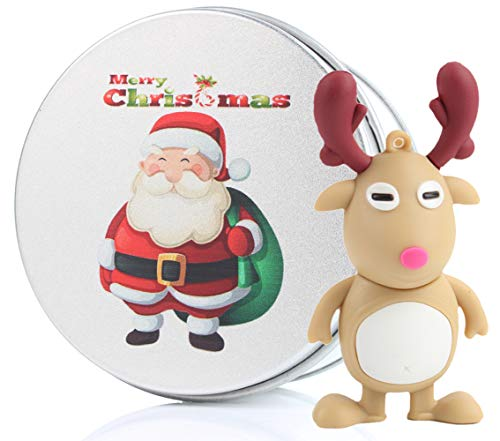 Christmas Tree Santa Gift USB Flash Drive Memory Stick Data Storage Device & Metal Box Packing Novelty Present (Reindeer-32G)