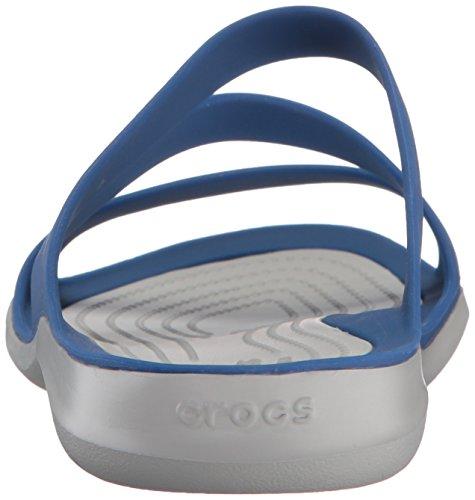 crocs Swiftwater Damen Sandalen Blue Jean/Pearl White
