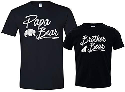 Father Son Shirts, Papa Bear Shirt, Brother Bear Tee, Mens Med & Black Size 5/6