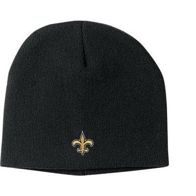 (New Orlean Saints Black Skull Cap - NFL Cuffless Beanie Knit Hat)