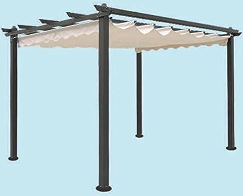 Cenador de jardín de aluminio, pérgola de 300 x 400 cm, tela ...