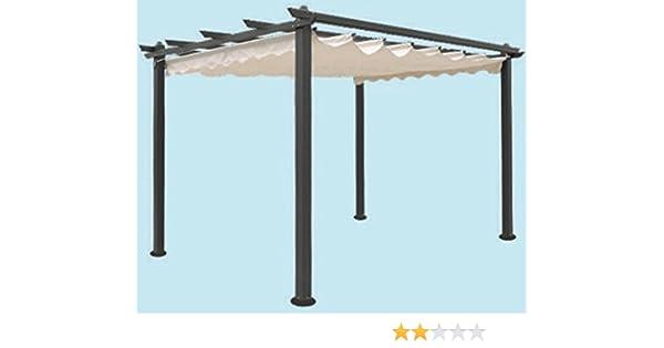Cenador de jardín de aluminio, pérgola de 300 x 400 cm, tela superior deslizante.: Amazon.es: Jardín