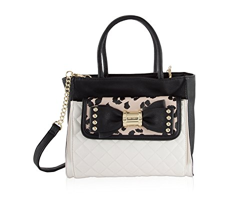 Betsey Johnson Bag In Bag Quilted Faux Leather Convertible Cheetah Studded Bow Pouch Satchel Shoulder ()