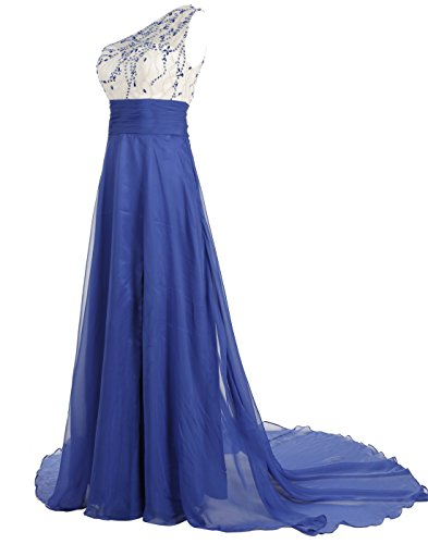 ALAGIRLS with Chiffon Evening Shoulder Blue Train Dress Beaded One Long Prom Gown Royal UfrUAzq