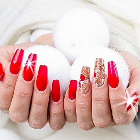 LEEQ 120 Piezas uñas acrílicas Falsas uñas de café uñas Cobertura Completa Bailarina Forma uñas 10 tamaños Mujeres Artificial uñas Falsas en Caja ...