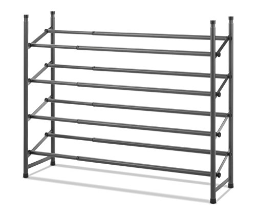 Whitmor 4-Tier Shoe Rack Gunmetal Gray - Expandable Rack Shoe Stackable
