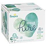 Baby : Pampers Aqua Pure Water-Based Baby Diaper Wipes, 6 Pop-Top Travel Packs - Hypoallergenic, Sensitive, and Unscented - 336 Count