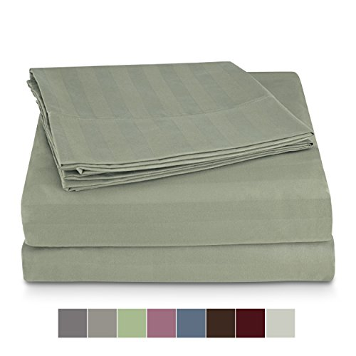 Snuggle Sheet Sets Ultra Soft Double Brushed Microfiber - Wrinkle, Fade, Stain Resistant, Easy Care, Hypoallergenic - Queen, Moss Green, DOB- Stripe Embossed ()