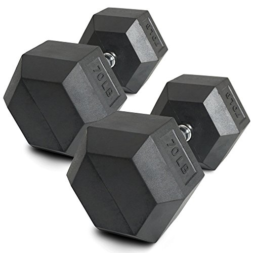 Pair 70 lb Black Rubber Coated Hex Dumbbells Weight Training Set 140 lb Fitness by Titan Fitness (Image #2)