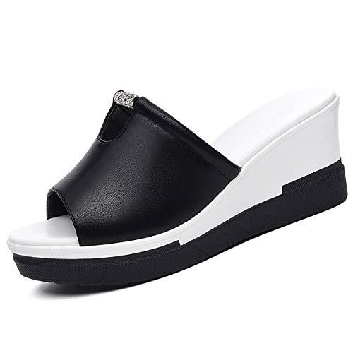 AJUNR Transpirable Zapatillas con Zapatillas Zapatos de Mujer Zapatos de la Torta de Esponja cómodo Personalizado Anti Olor Zapatos de Mujer black