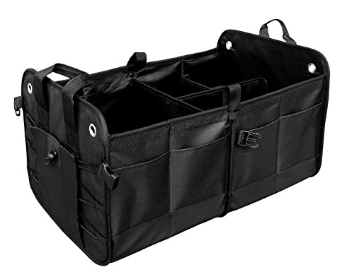 ANTEQI Trunk Organizer With Rope Handles,Compartment Board Foldable Great For Home,Car, SUV, Truck(Black)