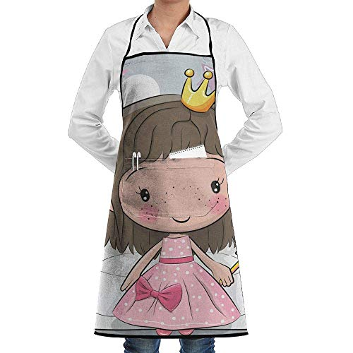 Yohafke Grill Aprons Kitchen Chef Bib Cute Cartoon Princess Kitchen Cooking Aprons with 2 Pockets for Women and Men-Adjustable Neck Strap -