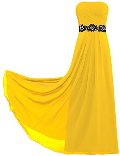 Sans Bretelles De Femmes Fourmis Longues Robes Du Soir En Mousseline De Soie Pour Les Mariages Profonds Jaune