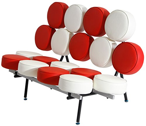 Emorden Furniture Nelson Marshmallow Sofa (7 Colors). Red and White Italian Leather