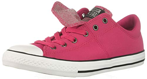 (Converse Girls' Chuck Taylor All Star Maddie Glitter Leather Low Top Sneaker, Pink POP/Black/White, 11 M US Little)