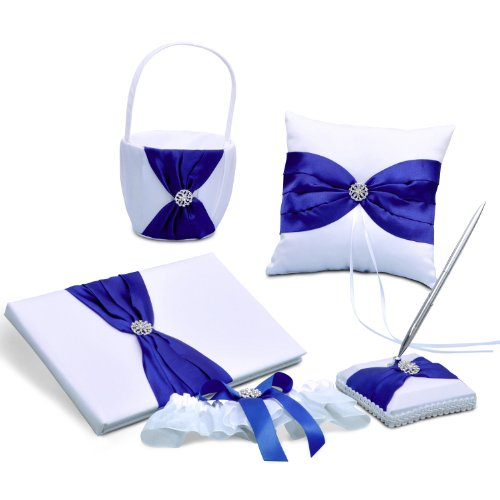 Wedding Day Ring Bearer Book - Royal Blue Satin Bow Wedding Ceremony Collection Guest Book Ring Pillow Flower Basket