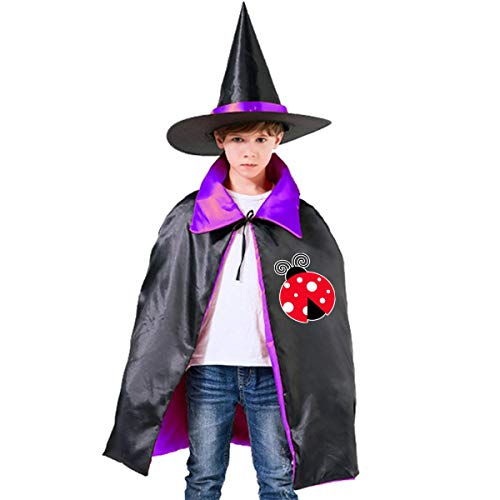Halloween Children Costume Ladybug Lady Wizard Witch Cloak Cape Robe And Hat Set -